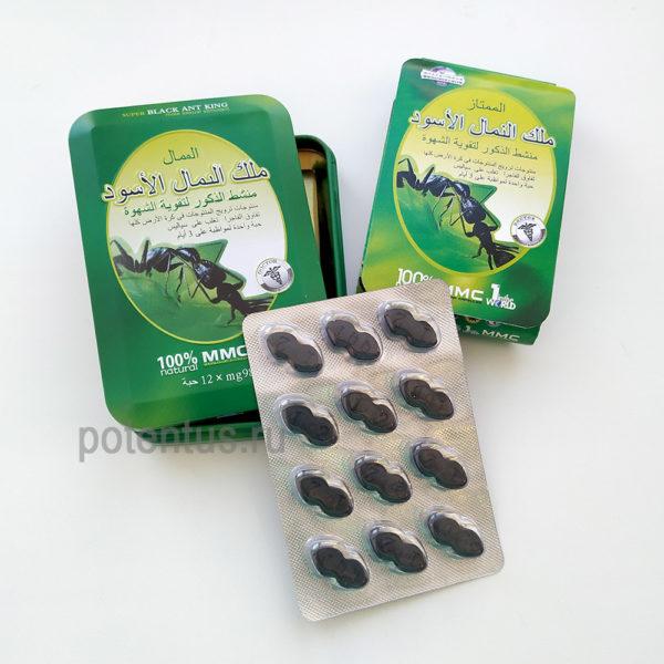 12 таблеток для эрекции Super Black Ant King дешево
